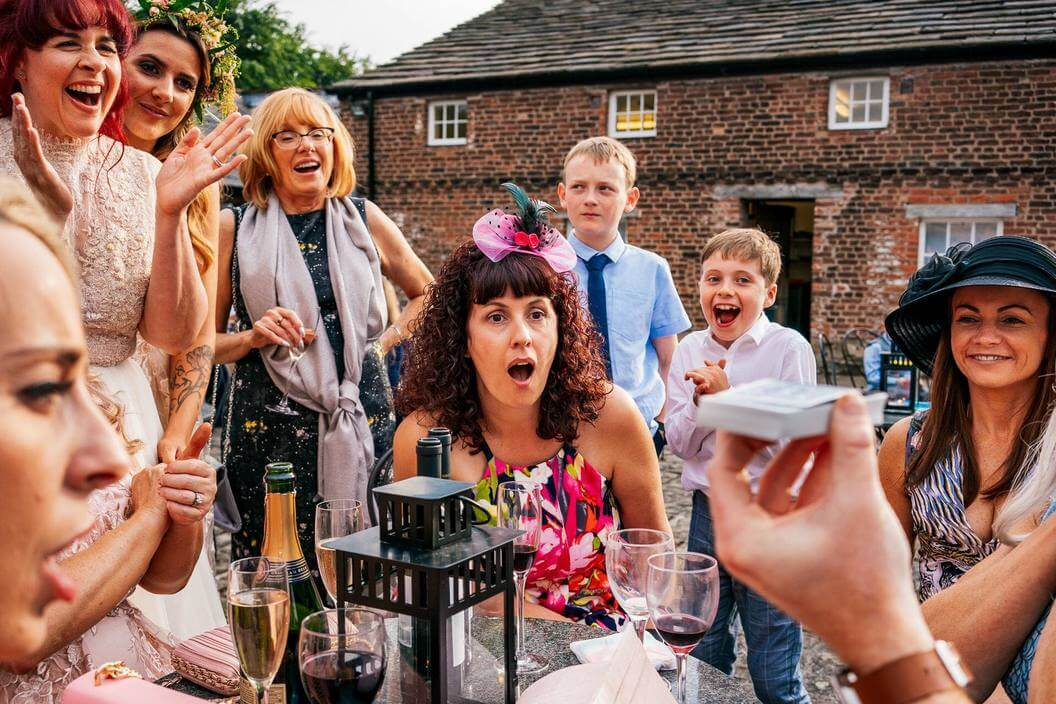 manchester magician sam fitton performs at machester wedding drinks reception