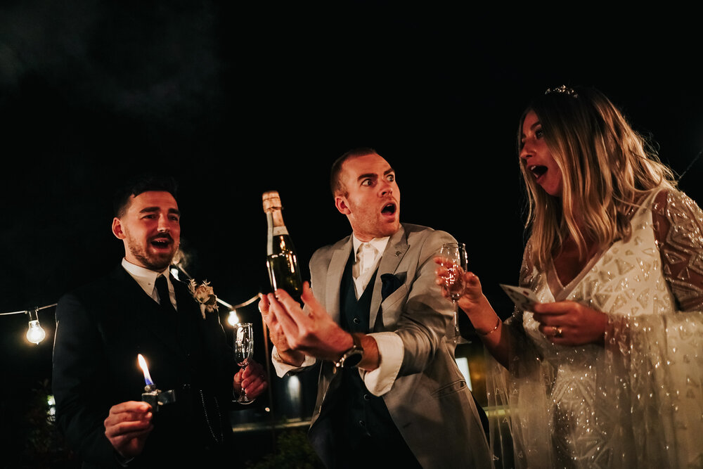 manchester magician sam fitton performs for bride and groom